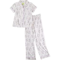 White Orchid Womens Floral Button Down Pajama Pants Set