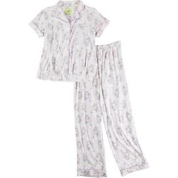 Womens Floral Button Down Pajama Pants Set