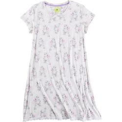Womens Painted Floral Crewneck Sleep Shirt