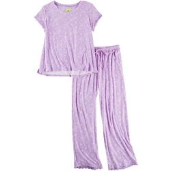 White Orchid Womens Linear Floral Pajama Pants Set