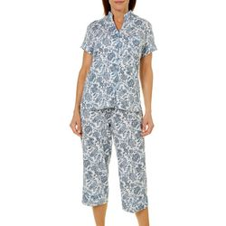 White Orchid Womens Floral Interweave Print Capri Pajama Set