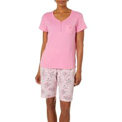 White Orchid Womens Floral Chevron Pajama Shorts Set