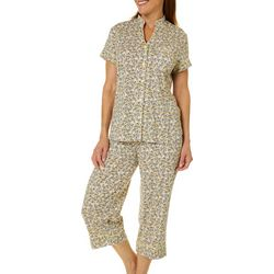 White Orchid Womens Modern Floral Capri Pajama Set