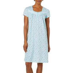 White Orchid Womens Paisley Floral Short Sleeve Nightgown