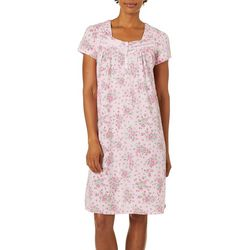 White Orchid Womens Floral Short Sleeve Nightgown