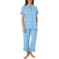White Orchid Womens Poppy Button Down Pajama Pants Set