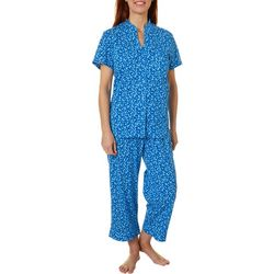 White Orchid Womens Daisies Button Down Pajama Pants Set