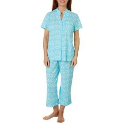 White Orchid Womens Scroll Vine Button Down Pajama Pants Set