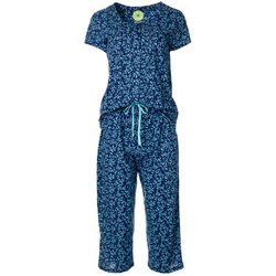 White Orchid Womens Ditsy Daisies Henley Pajama Pants Set