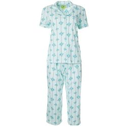 White Orchid Womens Roses Button Down Pajama Pants Set