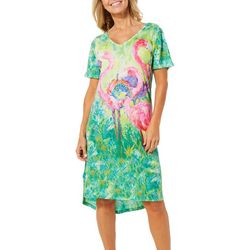 Leoma Lovegrove Womens Christmas Flamingo Soiree Nightgown