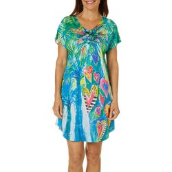 Leoma Lovegrove Womens Hearts Palm Short Sleeve Nightgown