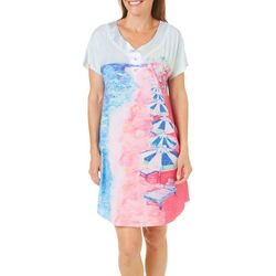 Leoma Lovegrove Womens Lido Beach Button Nightgown
