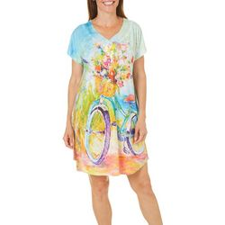 Leoma Lovegrove Womens Beach 'N Ride Button Nightgown