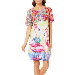 Ellen Negley Womens Christmas Flamingo Nightgown