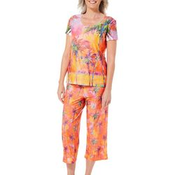Leoma Lovegrove Womens Parade of Palms Capris Pajama Set