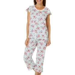 Aria Womens Floral Print Short Sleeve Pajama Capris Set