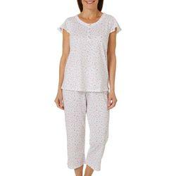Aria Womens Ditsy Floral Print Pajama Capris Set