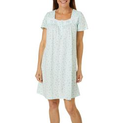 Aria Womens Dainty Floral Print Lace Trim Short Nightgown