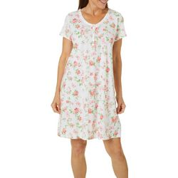 Aria Womens Flora Print Lace Trim Short Nightgown