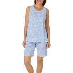 Aria Womens Floral Lattice Print Bermuda Pajama Shorts Set