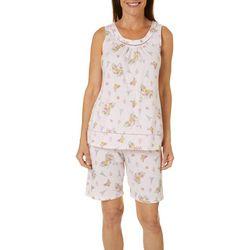 Aria Womens Paris Floral Print Bermuda Pajama Shorts Set