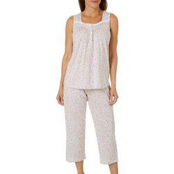 Aria Womens Ditsy Floral Henley Pajama Capris Set