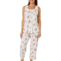 Aria Womens Floral Print Henley Pajama Capris Set