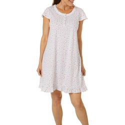 Aria Womens Ditsy Floral Print Lace Trim Short Nightgown