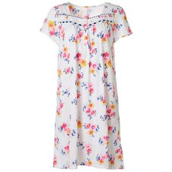 Womens Bright Floral Lace Trim Short Nightgown