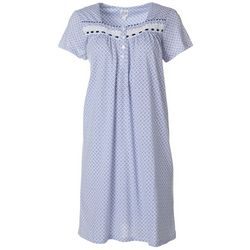 Aria Womens Geo Print Lace Trim Short Sleeve Nightgown