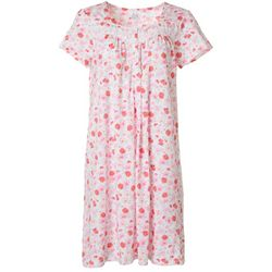 Aria Womens Bright Daisy Lace Trim Short Sleeve Nightgown