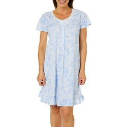 Aria Womens Paisley Print Lace Trim Short Nightgown