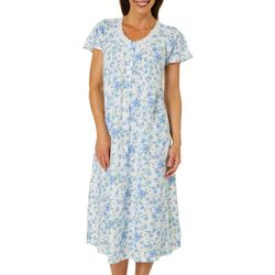 Aria Womens Floral Print Lace Trim Long Nightgown