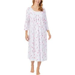 Aria Womens Watercolor Floral Print Lace Trim Long Nightgown