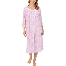 Aria Womens Watercolor Damask Print Lace Trim Long Nightgown