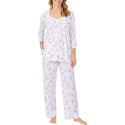Aria Womens Watercolor Floral Button Down Pajama Pants Set