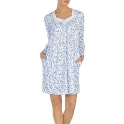 Aria Womens Floral Long Sleeve Short Nightgown