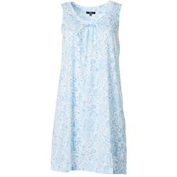 Aria Womens Paisley Lace Trim  Sleeveless Nightgown
