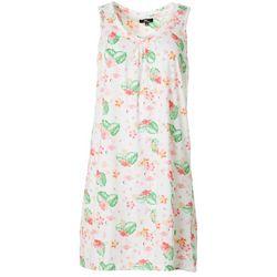 Womens Tropical Print Sleeveless Nightgown