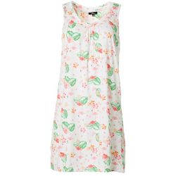 Womens Tropical Print Sleeveless Nightgown