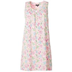 Womens Floral V-Neck Sleeveless Nightgown