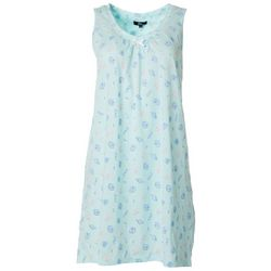Aria Womens Shell Print V-Neck Sleeveless Nightgown