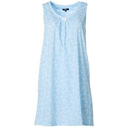 Aria Womens Swimming Paisley V-Neck Sleeveless Nightgown