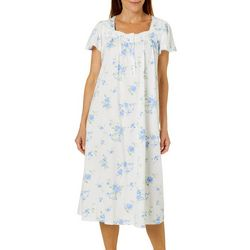 Aria Womens Floral Print Short Sleeve Ballet Nightgown