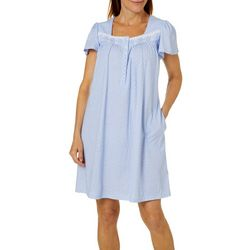 Aria Womens Polka Dot Short Sleeve Short Nightgown