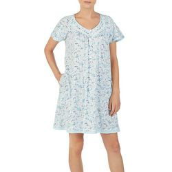 Aria Womens Floral Print Short Sleeve Nightgown