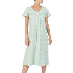 Aria Womens Palmette Print Short Sleeve Ballet Nightgown