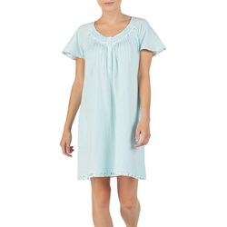 Aria Womens Stripe Print Floral Trim Short Sleeve Nightgown