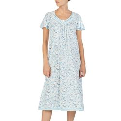 Aria Womens Floral Print Short Sleeve Long Nightgown